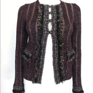Chanel 05A shimmery sparkle purple jacket sweater